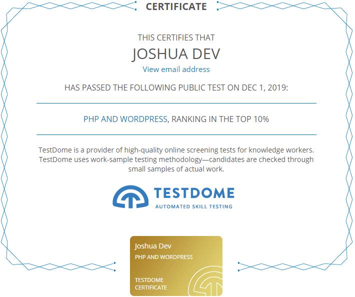 Certificat Joshua Développeur Top 10 Pourcent Expert Wordpress PHP