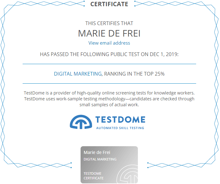 Certificat Marie Experte Wordpress Top 25 Pourcent Digital Marketing